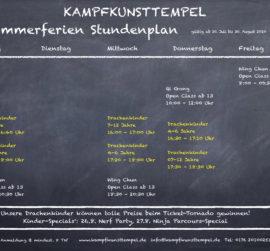 Kampfkunsttempel Wing Chun Jena Sommerferienplan
