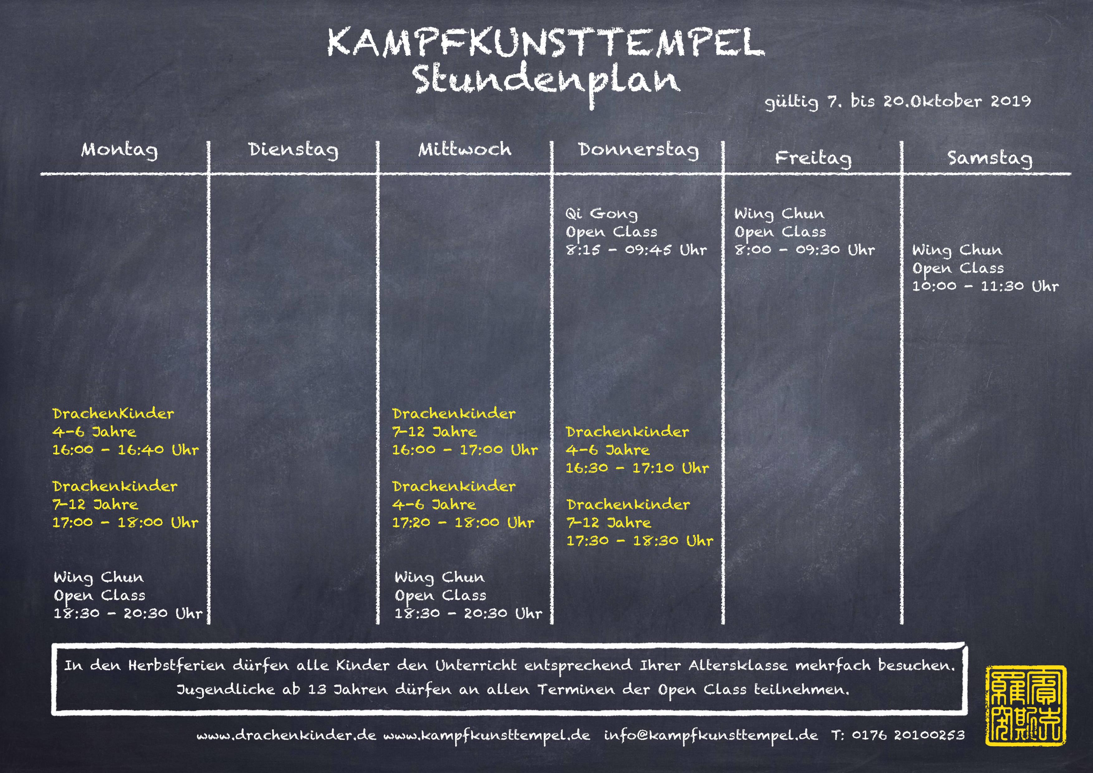 Kampfkunsttempel Jena Stundenplan Herbstferien